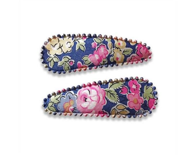 "LIBERTY PRINT HAIRCLIPS handmade by Josie Joan's - ""Eden"" (purple)"