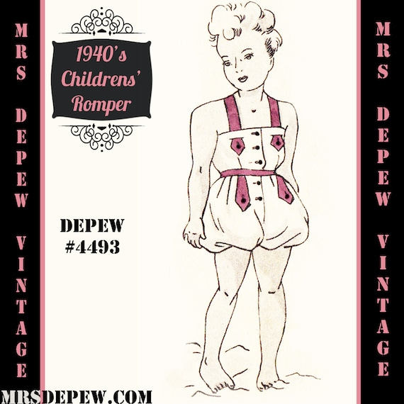 1940s Children's Clothing: Girls, Boys, Baby, Toddler 1940s Childs Playsuit in Any Size Depew 4493 - Plus Size Included -INSTANT DOWNLOAD-Vintage Sewing Pattern 1940s Childs Playsuit in Any Size Depew 4493 - Plus Size Included -INSTANT DOWNLOAD- $7.50 AT vintagedancer.com