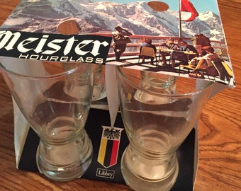 Vintage Libbey Meister Hourglass Glasses Pack of 4