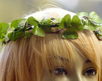 St. Patricks Irish CROWN Halo Ivory Silk Rose and Green Clover Bridal Shamrock