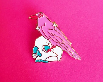 Love Crow and Skull / Cute Pink and Gold Soft Enamel Lapel Pin
