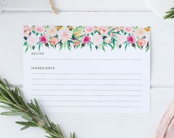 Pink Peonies Recipe Cards
