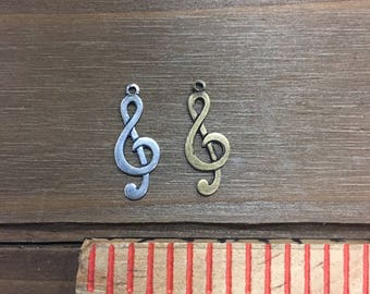 Treble Clef Music Note Stamping, Finding. Solid Brass, USA Made.