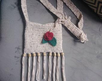 Crochet Crossbody Flower Purse Hippie Boho Festival