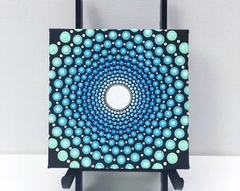 Aquamarine dot mandala acrylic painting canvas