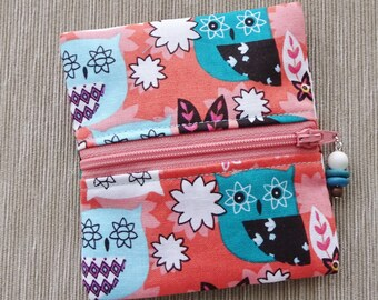 Ear Bud Case, Coin Purse, Zippered Case, Owl Fabric Purse, Small Pocket Purse, Charger Cord Case, Lipstick Bag, Owls, Stocking Stuffer