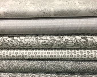 Gorgeous Greys Low Volume Fat Quarter Bundle of 6 Fabrics