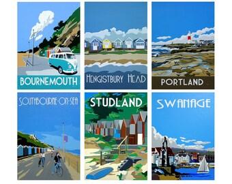 A set of 6 Vintage inspired prints of Dorset - Coastal Collection