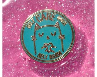 Self Care Pin. Self Care Gift. Cat Pin. Self Care Over Self Harm. LGBT Charity Pin. Self Care Cat Pin. Hat Pin. Lapel Pin. LGBTQ Care