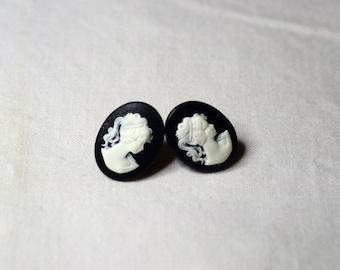 Stud cameo Stud Earrings black Victorian vintage handmade