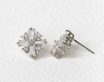 Bridal Jewelry Art Deco Earrings Stud Earrings White Gold Earrings Bridesmaid Jewelry Bridesmaid Gift Silver Studs Crystal Earrings E327-S