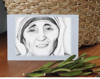 Mother Teresa Printable Greeting Card - Blank Inside