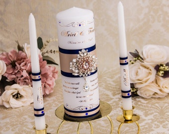 Navy and Blush Personalized Unity Candle Set, Wedding Gift, Navy and Pink Candle, Crystal Wedding Candle, Monogram Candle Set