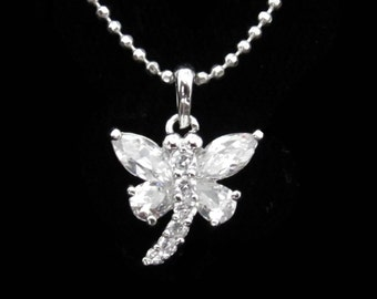 Cubic Zirconia CZ Crystal Small Tiny Dragonfly Pendant Charm Chain Necklace Silver Tone Clear