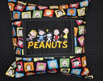 """LARGE Peanuts 20"""" x 20"""" Charlie Brown, Lucy, Sally, Linus & Snoopy Embroidered Pillow with Pillow Insert"""