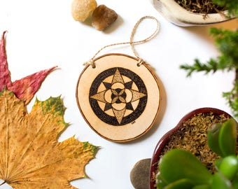 Adventurer | Compass Wood Burned Wood Slice Ornament or Wall Hanging | Personalized Wood Art | Nature Lover Gift | Hiking Gift | Wanderlust