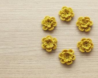 6 pcs of sephia crocheted flowers, 24mm