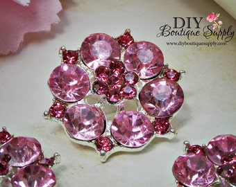 Large PINK Rhinestone Buttons 2 Tone Pink and Hot Pink Crystal buttons Metal flatback Embellishment Bow flowers centers 3 pcs 26mm 866031