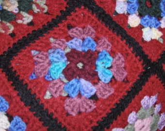 Queen Size Burgundy Granny Square Crochet Blanket