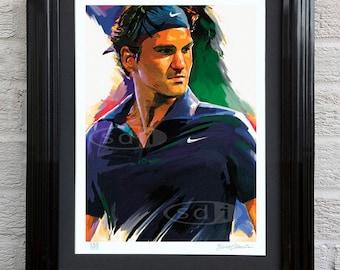 Roger Federer tennis sports art poster print