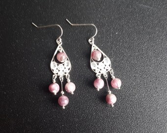 Sterling Silver Lepidolite Earrings