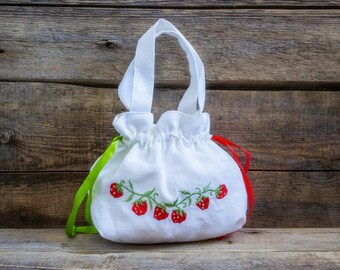 Linen Girl Handbag, Embroidered Wedding Sachet, Small Handmade Strawberry Bag, White, Rustic Party Bag