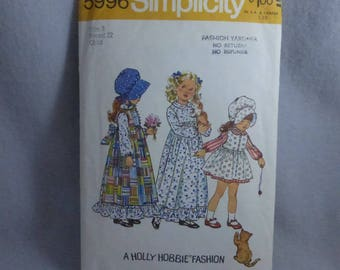 Vintage Simplicity Pattern 5996 Girls Holly Hobbie Dress  Size 3