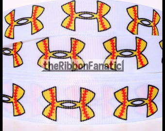 """5 yds 7/8"""" Softball Yellow and Red Stitches on White  Grosgrain Ribbon"""