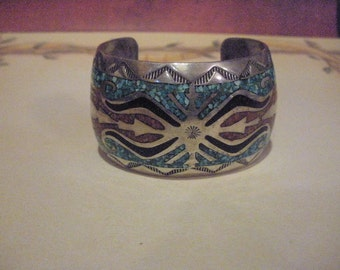 Vintage Silver, turquoise, coral and onyx inlaid signed by artist