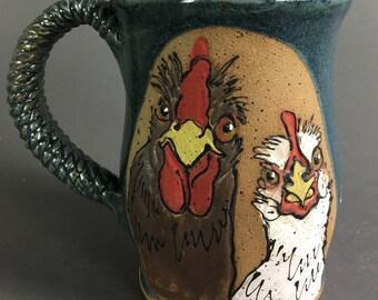 "Paula Bowers - Rooster & Hen Mug ""I Just Got Laid"""