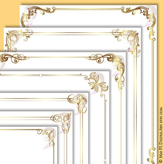 Document Frames Page Borders 8x11 Gold Floral Foliage Leaf