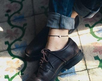 Men's anklet, black ankle bracelet for men with a silver round charm, black cord, bracelet for men, gift for him, men's jewelry, karma