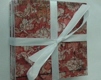 Red damask on vintage wallpaper wood panel-look coasters. Set of 4 decoupage tile coasters.