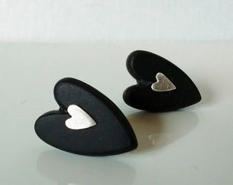 Resin Heart Studs - black resin & satin silver hearts