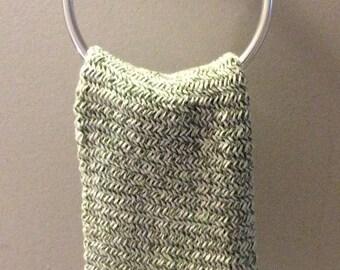 Sage Green & White Herringbone Hand Towel