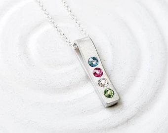 Hand Stamped Fold Over Necklace - Personalized Jewelry - Birthstone Necklace - Birthstone Jewelry - Mother's Jewelry - Gift for Mom