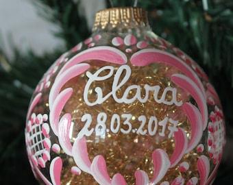ball name, custom glass, 8cm, alsace decor