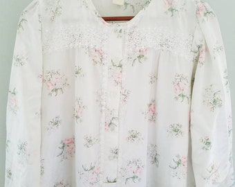 Vintage CHRISTIAN DIOR Nightgown floral silky romantic