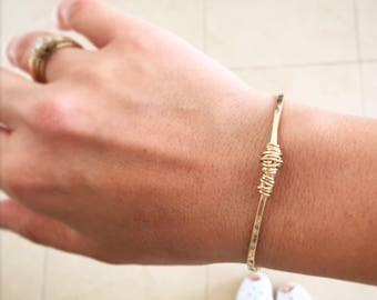 Gold bangle, Gold filled bracelet, Stacked bangle, Boho bangle, Boho bracelet, Rustic bracelet, Wrapped bangle, Hammered bangle, Thin bangle