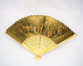 Vintage antique painted fabric eventail folded hand fan handfan late 1800s early 1900s