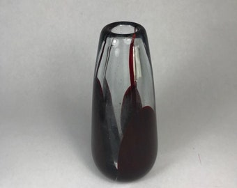 Red and Clear Geometric / Mod Art Glass Vase - Thielen 1970s