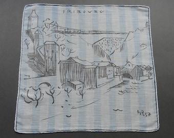 Sale - Fribourg in 1957 - Vintage Souvenir Swiss City of Fribourg Cotton Hankie Handkerchief