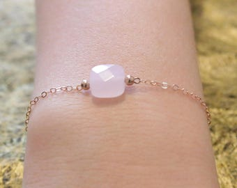 Chain bracelet gold rosé and square faceted