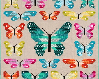 NEW Lepidoptera Quilt Pattern by Elizabeth Hartman, Fat Quarter Quilt, Butterfly Quilt, Baby Quilt, Bed Quilt, Dragonfly quilt,