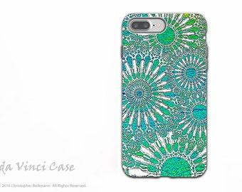 Turquoise Sea Urchin - Artistic iPhone 7 PLUS - 8 PLUS Tough Case - Dual Layer Protection - Ocean Lace