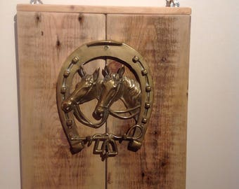 Upcycled wooden pallet and brass horse key holder