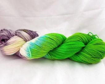 Fairy Garden hand dyed sock yarn 100% superwash wool 400 yards