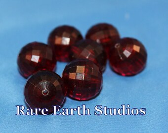 Vintage Red Round Faceted Beads 18mm 60516035