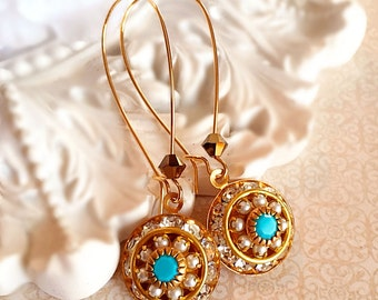 Victorian Earrings - Turquoise - Bridesmaid Gifts - Crystal - AURORA Pacifica