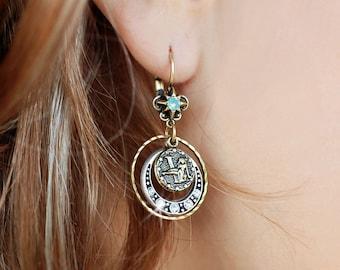 Zodiac Earrings, Zodiac Jewelry, Astrology Jewelry, Birthday Earrings, Birthday Gift, Zodiac Sign, Horoscope Jewelry, Astrological E1241